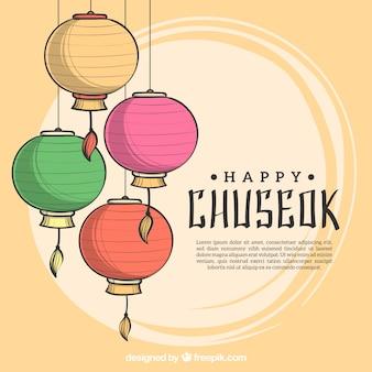 Urocza ręcznie rysowana kompozycja chuseok