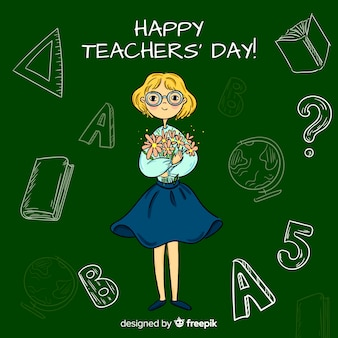 Urocza, ręcznie rysowana kompozycja dla nauczycieli