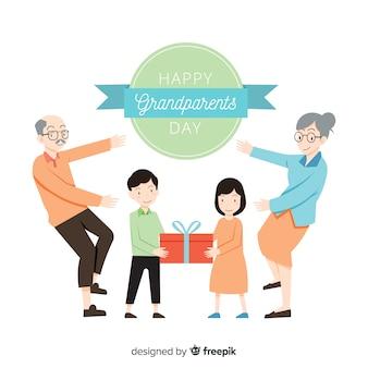 Urocza, ręcznie rysowana kompozycja na dzień dziadków