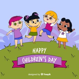 Urocza ręcznie rysowana kompozycja na dzień dziecięcy