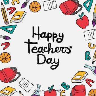 Urocza, ręcznie rysowana kompozycja na dzień nauczyciela świata