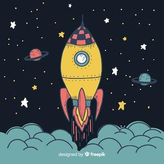 Urocza, ręcznie rysowana kompozycja rakiet kosmicznych