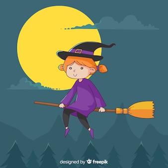 Urocza, ręcznie rysowana postać czarownicy