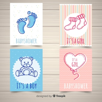 Urocza ręcznie rysowane kolekcja kart baby shower