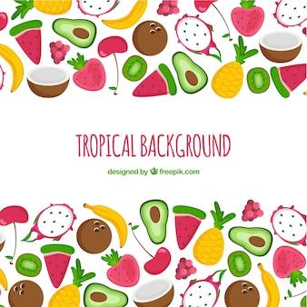 Urocza Ręcznie Rysowane Tropikalny Tło Darmowych Wektorów