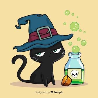Urocza ręka rysujący halloween kot