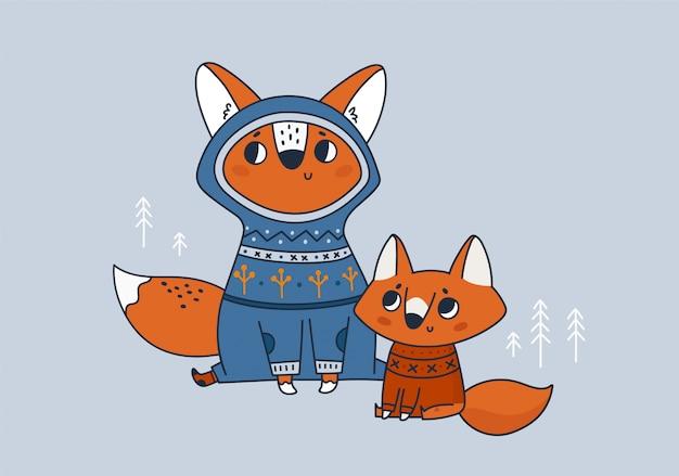 Urocza rodzina lisa. najlepsza mama, tata kiedykolwiek