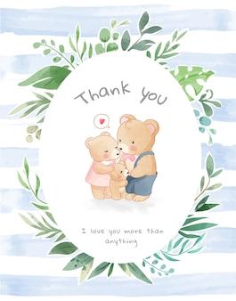Urocza rodzina niedźwiedzi w ramce z liści i niebieskim pasku