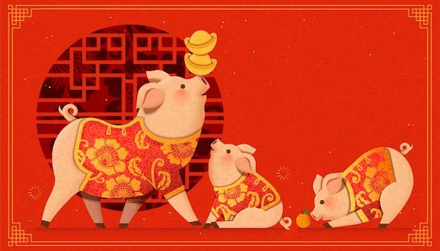Urocza rodzina świnek z papieru na tle chińskiego okna