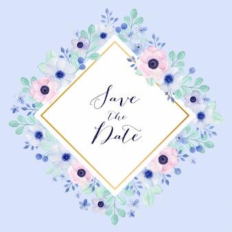 Urocza romantyczna rama z zawilecem kwiatowym