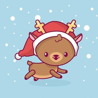 Urocza śliczna kawaii chibi. widok z boku jelenia działa pod śniegiem. wesołych świąt i szczęśliwego nowego roku