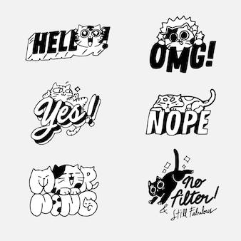 Urocza śliczna kotka kotka doodle ilustracyjna naklejka i zasób ustaw. najlepsza aplikacja do czatu messenger, drukowanie