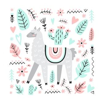 Urocza śliczna lama z kaktusem, kwiatami, roślinami, sercami. ilustracja wektorowa w stylu skandynawskim.