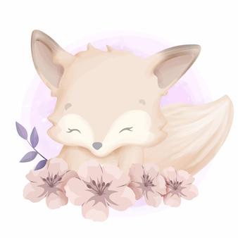Urocza śliczna zwierzęca lis i kwiat