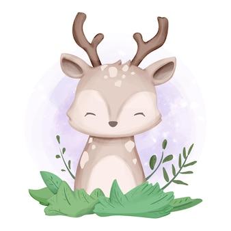 Urocza słodka akwarela jelenia zwierząt