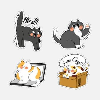 Urocza sprytna kotka kociak doodle ilustracja naklejka ii zestaw aktywów. najlepsza aplikacja do czatu messenger, drukowanie