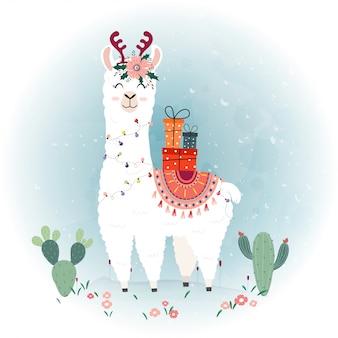 Urocza świąteczna lama.