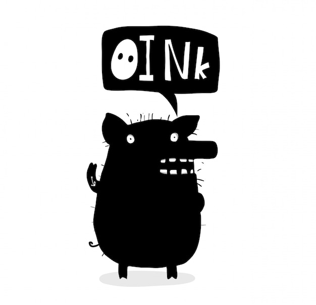 Urocza świnia atramentowy projekt z napisem oink