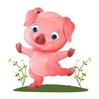 Urocza świnia tańczy i pozuje w ogrodzie ilustracji