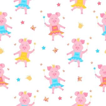 Urocza świniowata księżniczka w sukience iw koronie z magiczną różdżką w dłoni . zabawny prosiaczek. postać z kreskówki świnka.