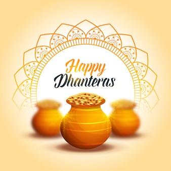Urocza, szczęśliwa, dekoracyjna karta festiwalowa dhanteras