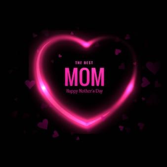 Urocza szczęśliwa matka dnia karta z serca tłem