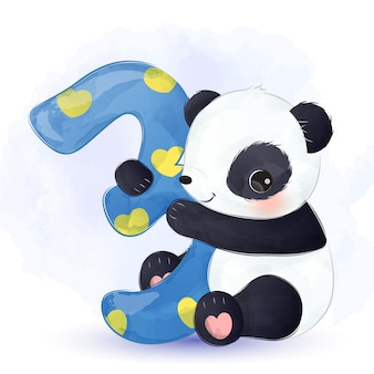 Urocza urodzinowa panda akwarela