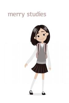 Urocza, uśmiechnięta azjatycka uczennica o ciemnych włosach i tornistrach na ramionach w szarej kamizelce i krótkiej spódnicy. ilustracja kreskówka. pojedynczo na białym tle.