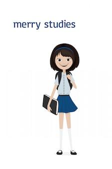 Urocza, uśmiechnięta uczennica o ciemnych włosach i tornistrach na ramionach oraz książce w dłoni w koszuli i krótkiej niebieskiej spódnicy. ilustracja kreskówka. pojedynczo na białym tle.