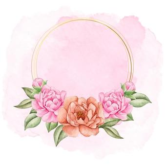 Urocza walentynkowa piwonia kwiatowy rama