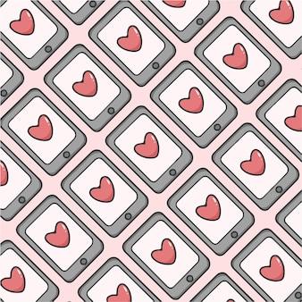 Urocza wiadomość na telefon komórkowy wzór tła valentine ilustracji wektorowych