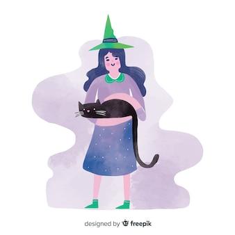 Urocza wiedźma halloween z czarnym kotem