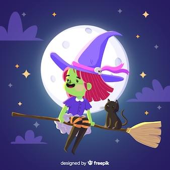 Urocza wiedźma halloween z fioletowymi ubraniami