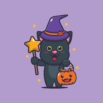Urocza wiedźma kot z magiczną różdżką niosąca dynię halloween śliczną ilustrację kreskówki halloween