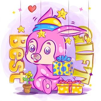 Urocza wiewiórka trzymaj prezent urodzinowy i czując się szczęśliwa