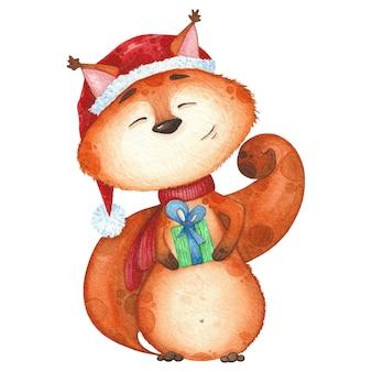 Urocza wiewiórka w czerwonym szaliku i czapce z prezentem. akwarela ilustracja na boże narodzenie