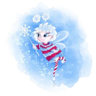 Urocza wróżka zimowa w ciepłym swetrze i skarpetach w paski.