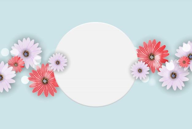 Urocza z ramą i kwiatami. ilustracja