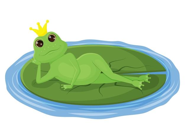 Urocza żaba z koroną na głowie, leżąca na liściu. charakter dzieci. ilustracja wektorowa. na białym tle.