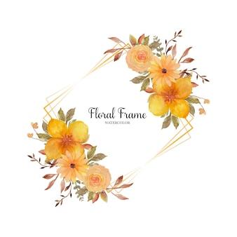 Urocza żółta rustykalna ramka w kwiaty