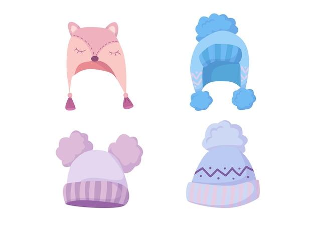 Urocze dzianinowe czapki wykonane z naturalnej wełny. przytulna zima w pastelowych kolorach. ciepłe ubrania na zimę.