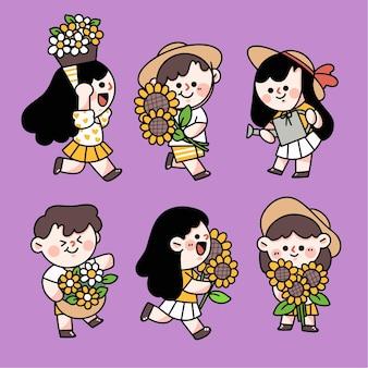 Urocze dzieci bawiące się w kwiatowy ogród znaków doodle zestaw ilustracji
