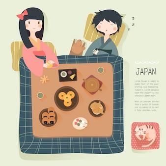 Urocze japońskie codzienne życie zimą - aby ogrzać się w kotatsu