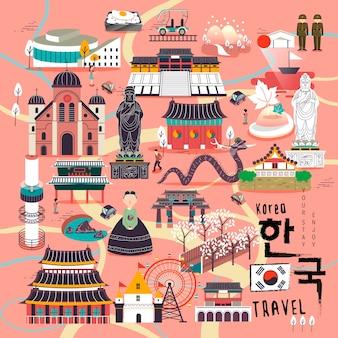Urocze kolekcje podróży do korei południowej o płaskiej konstrukcji - korea w koreańskich słowach po prawej stronie na dole