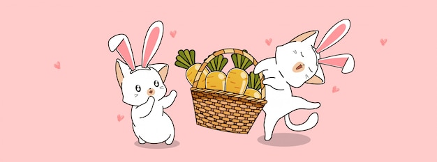 Urocze koty niosą marchewki w wiosenny dzień