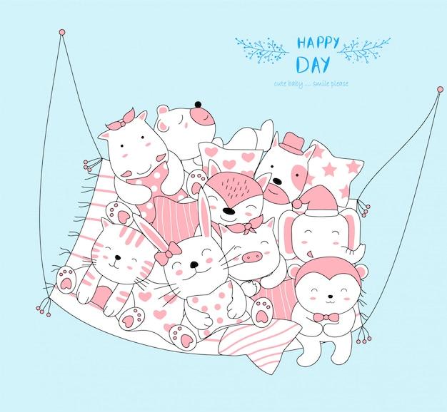 Urocze maleństwo relaksuje się i cieszy każdego dnia. szkic stylu cartoon zwierząt