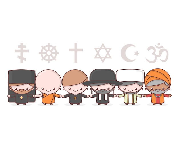 Urocze postacie. judaizm rabbi. buddyzm mnich. hinduizm brahman. ksiądz katolicyzm. chrześcijaństwo ojciec święty. islam muzułmanin. symbole religii. przyjaźń i pokój dla różnych wyznań.
