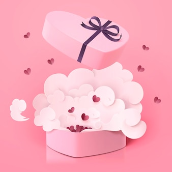 Urocze pudełko w kształcie serca ze smogiem na różowej powierzchni, papierowy styl w stylu 3d