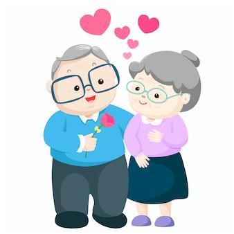 Urocze starsze osoby dobierają się wektor garść daje kwiatu babci ilustracja.