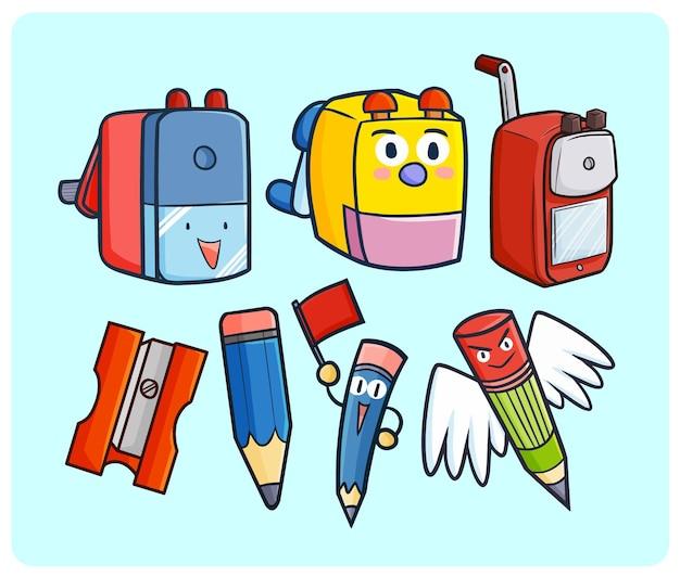 Urocze temperówki do ołówków i ołówków w stylu kawaii doodle
